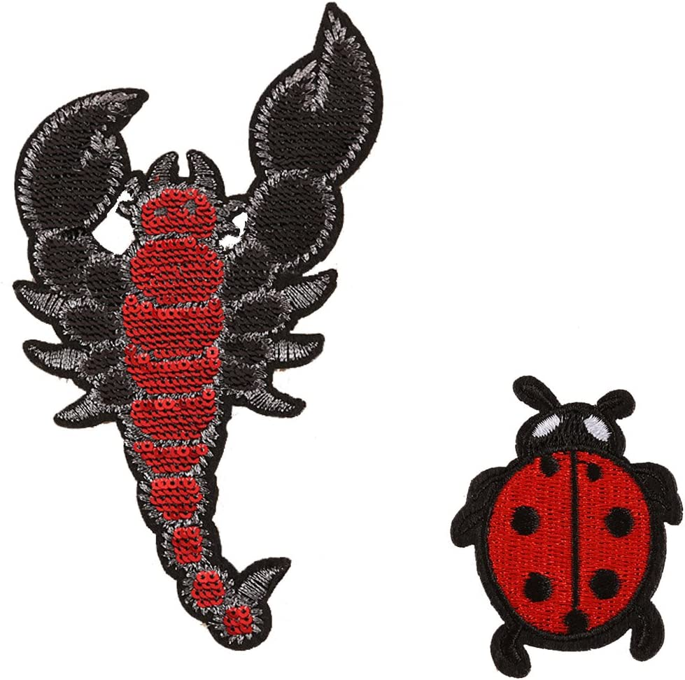 Black//White W//Sequins Iron On Applique Patch Fashion Ladybug Insect