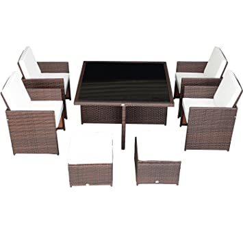 Outsunny 9 Piece Outdoor PE Rattan Wicker Nesting Patio Dining Table Set