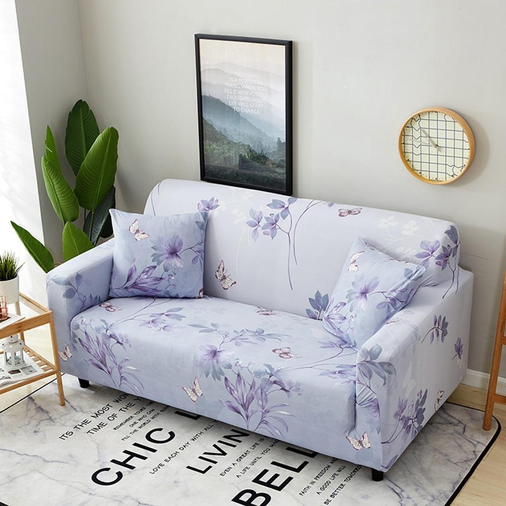 Funda elástica de sofá de 3 y 2 plazas de Powlance, color marrón, crema, funda de sofá de 1/2/3/4 plazas + 2 fundas de almohada, E, 4 seater