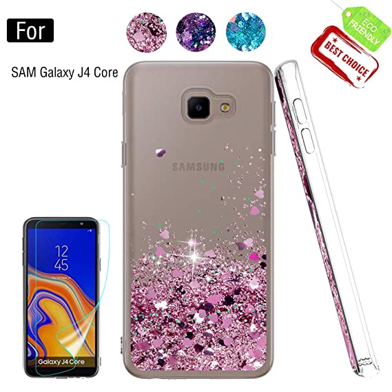 Galaxy J4 Core Phone Case, Galaxy J4 Core (6 0 inch) 2018 Cases with HD  Screen Protector for Girls, Luxury Glitter Quicksand Clear TPU Protective