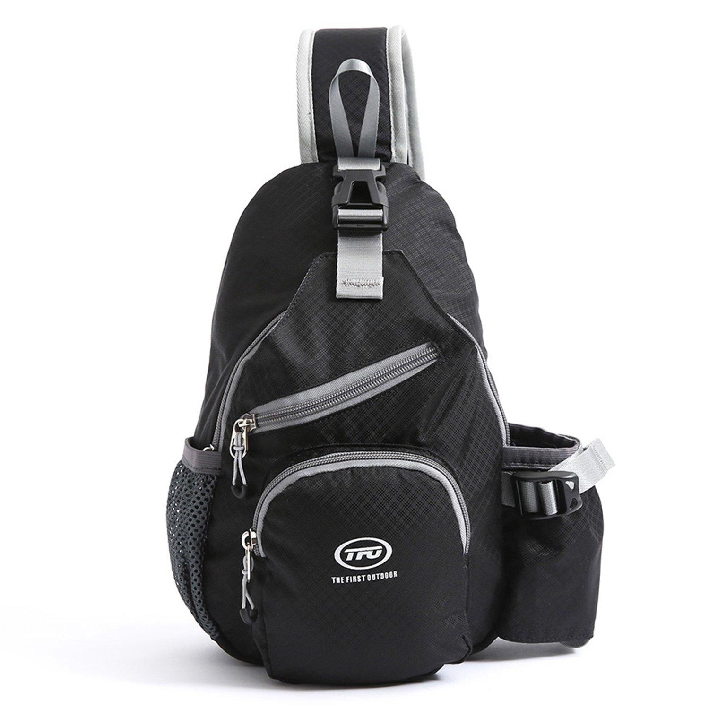 Sling Shoulder Backpack Bags Waterproof for Women Children, TFO Durable Multi Pocket Crossbody Chest Backpack with Bottle Holder for Travel Trip Hiking Commuting Black