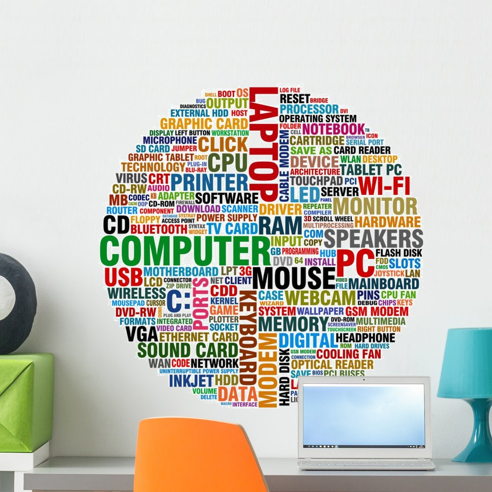 Wallmonkeys Word Collage About Computer Wall Decal Peel and Stick Graphic (24 in H x 24 in W) WM203595