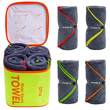 4monster 4 Pack Microfiber Bath Towel Camping Towel Swimming Towel Sports Towel with Accessory Bag, Quick Dry & Super Absorbent for Travel Gym, Suitable for Adults Kids Family, 24 X 48 Inch