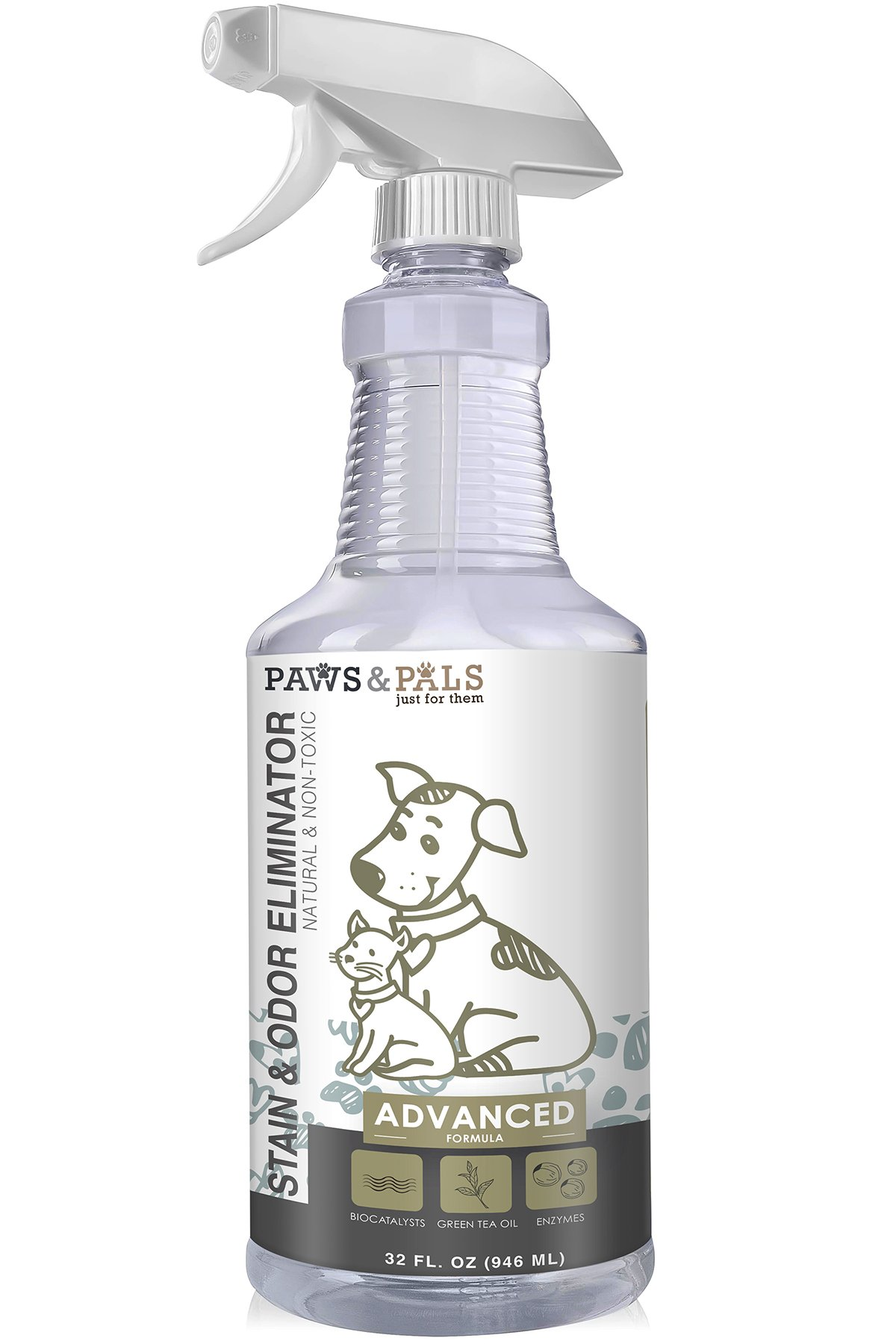 Organic Pet Stain Odor & Remover - Professional Strength Eliminator 32 oz Spray - Enzyme Eliminates Cat and Dog Urine Pee Stains Deodorizer Cleaner
