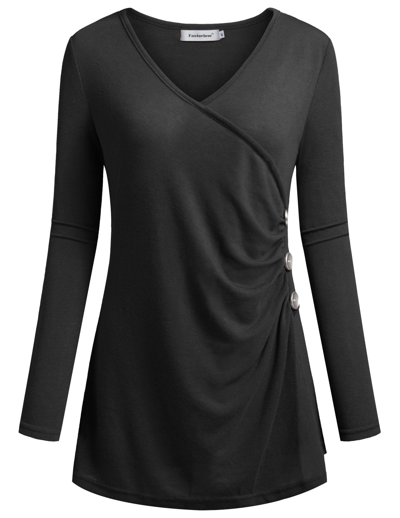 Fasterlow Stylish Womens Tops Long Sleeve Tunic Shirt Office Blouses Black L