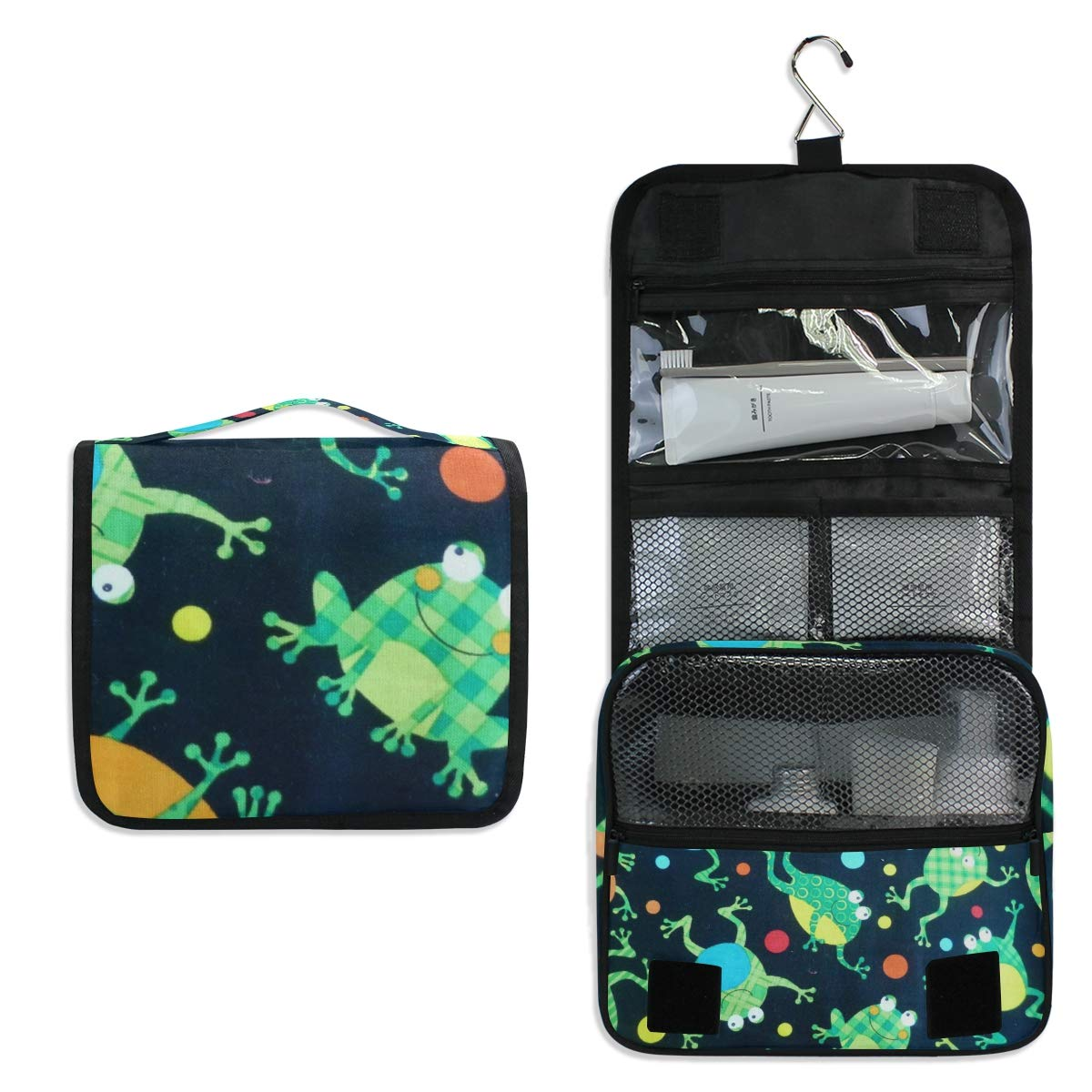 Hanging Toiletry Bag Cartoon Frog Waterproof Wash Bag Makeup Organizer for Bathroom Men Women