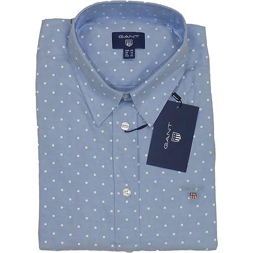 GANT Stretch Oxford Printed Dot Shirt-Blusa Mujer    azul azul