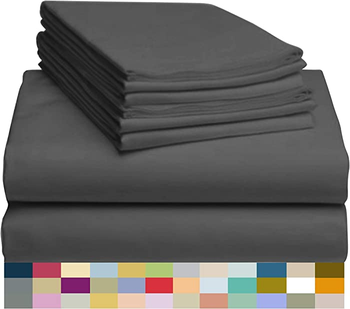 "LuxClub 6 PC Sheet Set Bamboo Sheets Deep Pockets 18"" Eco Friendly Wrinkle Free Sheets Hypoallergenic Anti-Bacteria Machine Washable Hotel Bedding Silky Soft - Grey King"