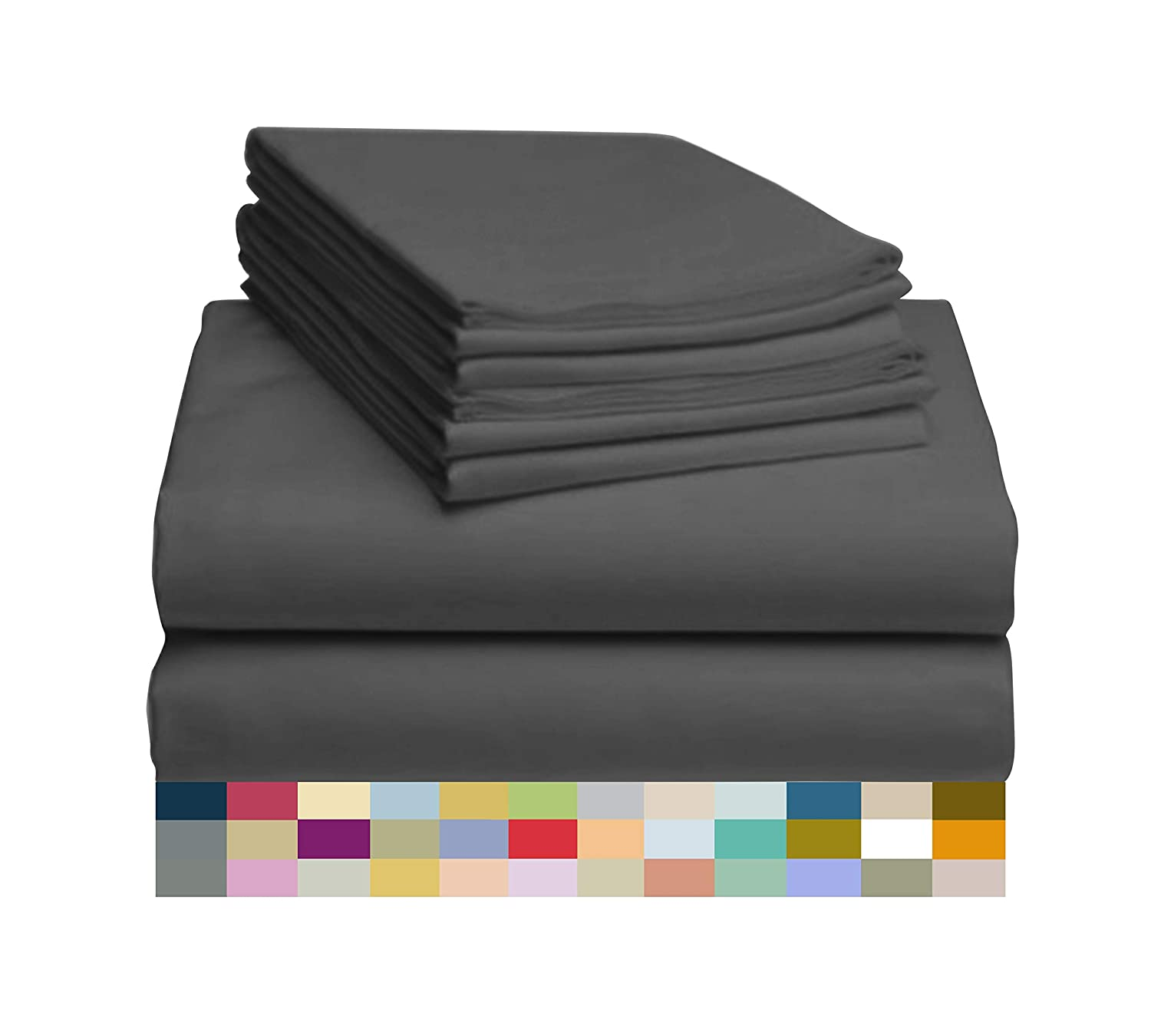 "LuxClub 6 PC Sheet Set Bamboo Sheets Deep Pockets 18"" Eco Friendly Wrinkle Free Sheets Hypoallergenic Anti-Bacteria Machine Washable Hotel Bedding Silky Soft - Dark Grey Queen"