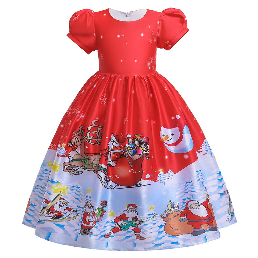 FDSD Baby Clothes Teen Child Girl Christmas Princess Dress Kids Girls Santa Print Short Sleeve Pageant Casual Party Wedding Gown (Age:14-15 Years, White) by FDSD Baby Clothes