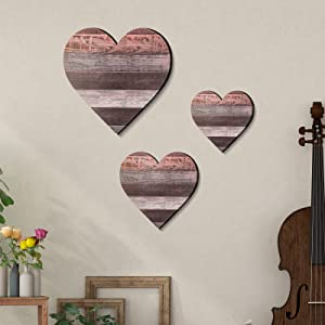 Jetec 3 Pieces Heart Shaped Wood Sign Heart-Shaped Wooden Wall Sign Wood Heart Wall Decor Rustic Hanging Sign Wooden Heart Plaque for Home Farmhouse Living Room Bedroom (Classic Color)