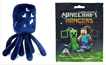 Minecraft Squid Plush & Official Minecraft Plastic Figure Hanger (1 Random Figure)
