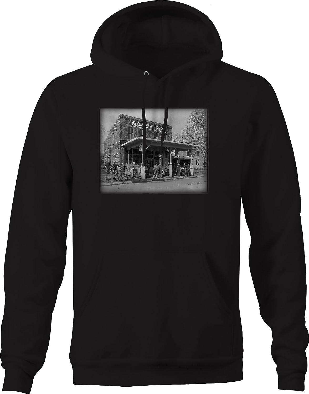 Original Service Gas Station Blacksmith Vintage Town Graphic Hoodie for Men