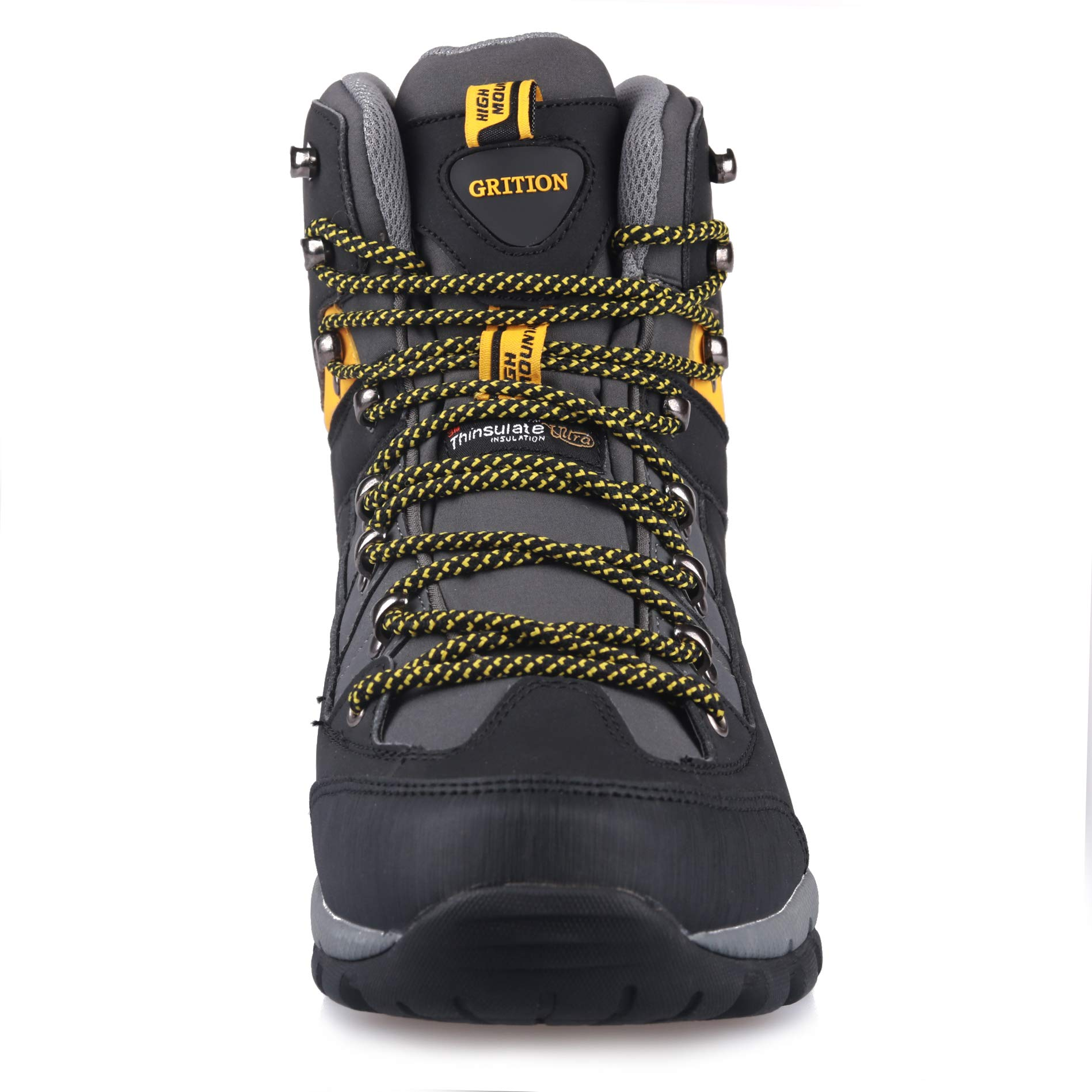 GRITION Men Hiking Boots Waterproof High Top Walking Non Slip Soft Shell Trekking Shoes Black/Yellow by GRITION (Image #3)