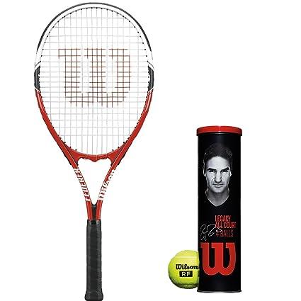 b7726dafaf868 Amazon.com : Wilson Federer Adult Prestrung Black/Red Tennis Racquet ...