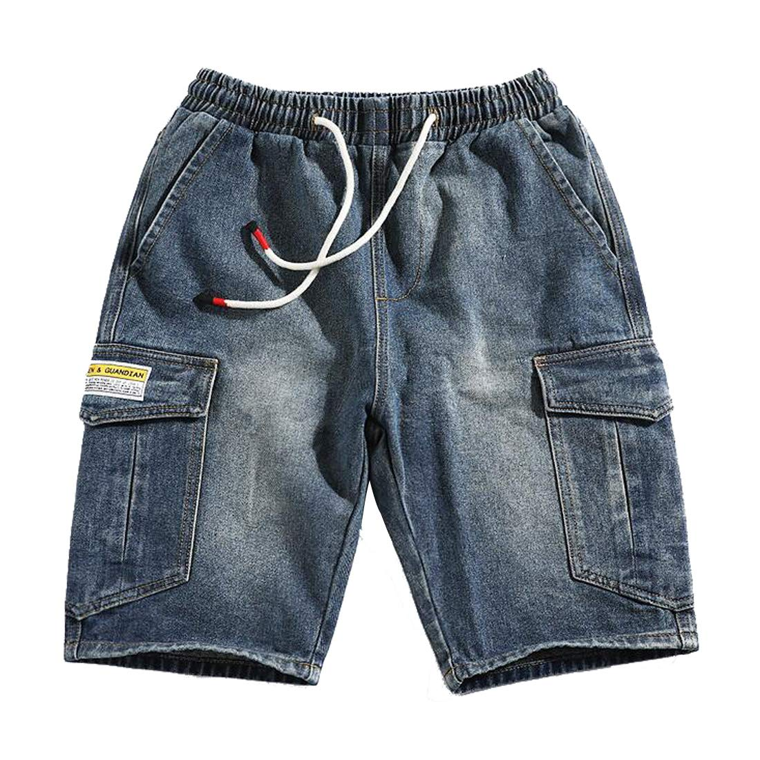 Hzcx Fashion Mens Multi-Pockets Elastic Waist Above Knee Cargo Denim Shorts