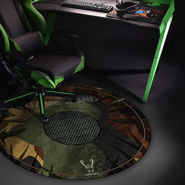 Woxter Stinger Floorpad Camouflage - Alfombrilla Gaming de Suelo, Tapete Protector para Suelo - Resistente al Agua, Lavable, 100% Microfibra, Diámetro 120 cm, Color Camuflaje