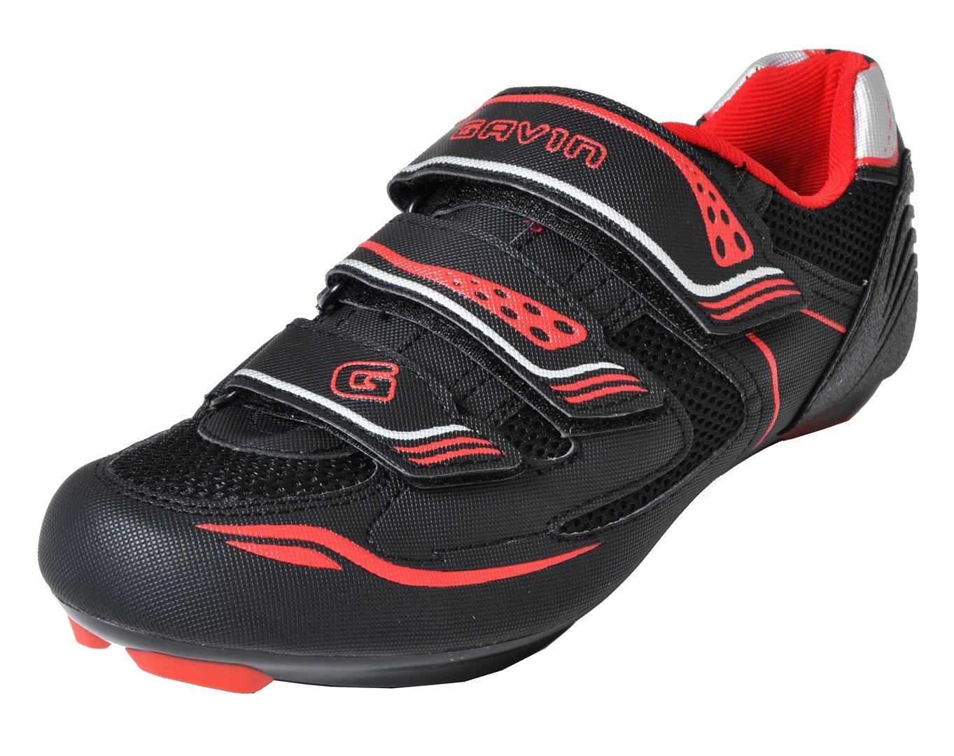 Gavin Men's VELO Road Bike Cycling Shoe, Black/Red, 43 EU by Gavin