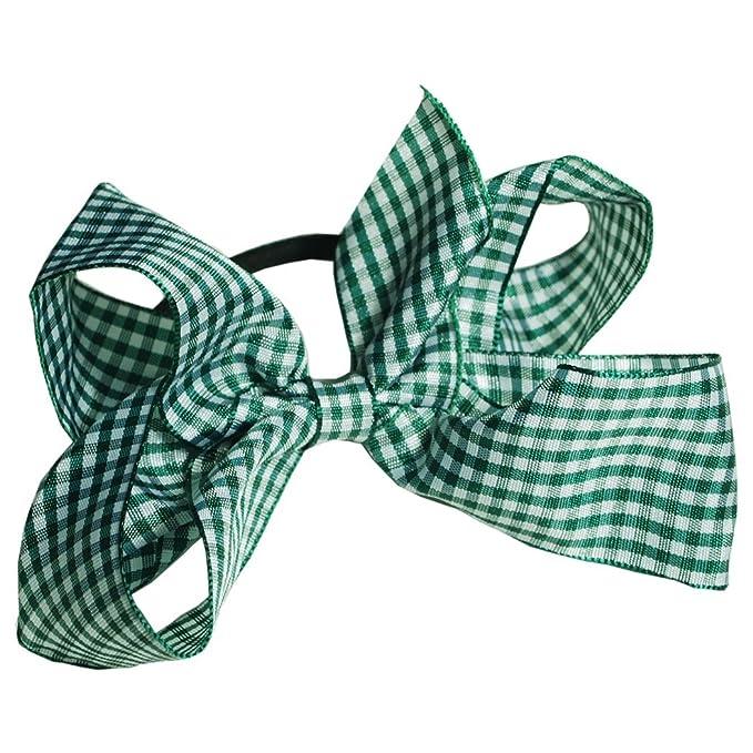 Girls Burgundy Gingham Hair Bow Bobble School Uniform Dance Bow FREE POSTAGE