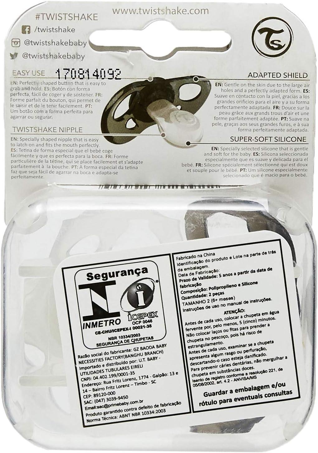 Chupete Twistshake 78086 color negro blanco