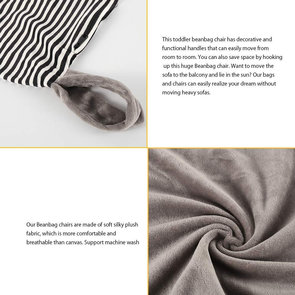 Iraza Puff Funda de Bean Bag,Puff para niños Infantil Kit de Sillónes de Hinchables,Color Gris,para Sala Dormir,127 x 89 x 76cm(Cebra)