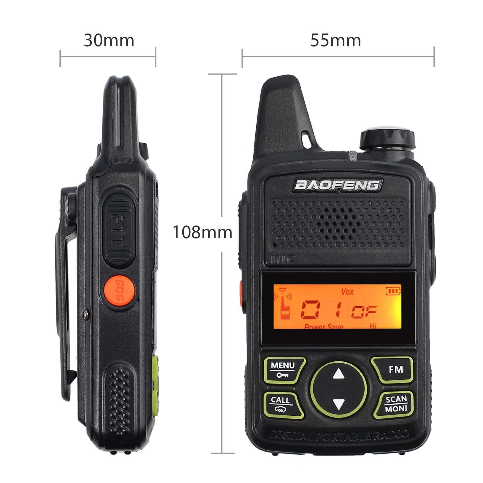 CAMWAY 2 Packs Mini Walkie Talkies T2 USB Rechargeable Long Range Two-Way Radios with Earpiece UHF 400-470Mhz Handle Portable for Family, Home, Cruise, Ship, Camping, Hiking by CAMWAY (Image #3)