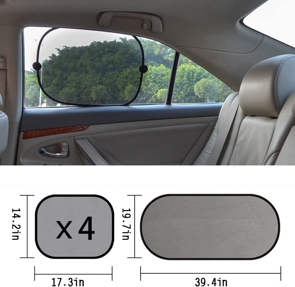 Car Window Shades HONMAY 5 Pack Car Sun Shade for Side and Rear Window SPF 30+ Protect your Kids//Pets in Back Seat 14.2x17.3 19.7x39.4 Blocks over 98/% of Harmful UV