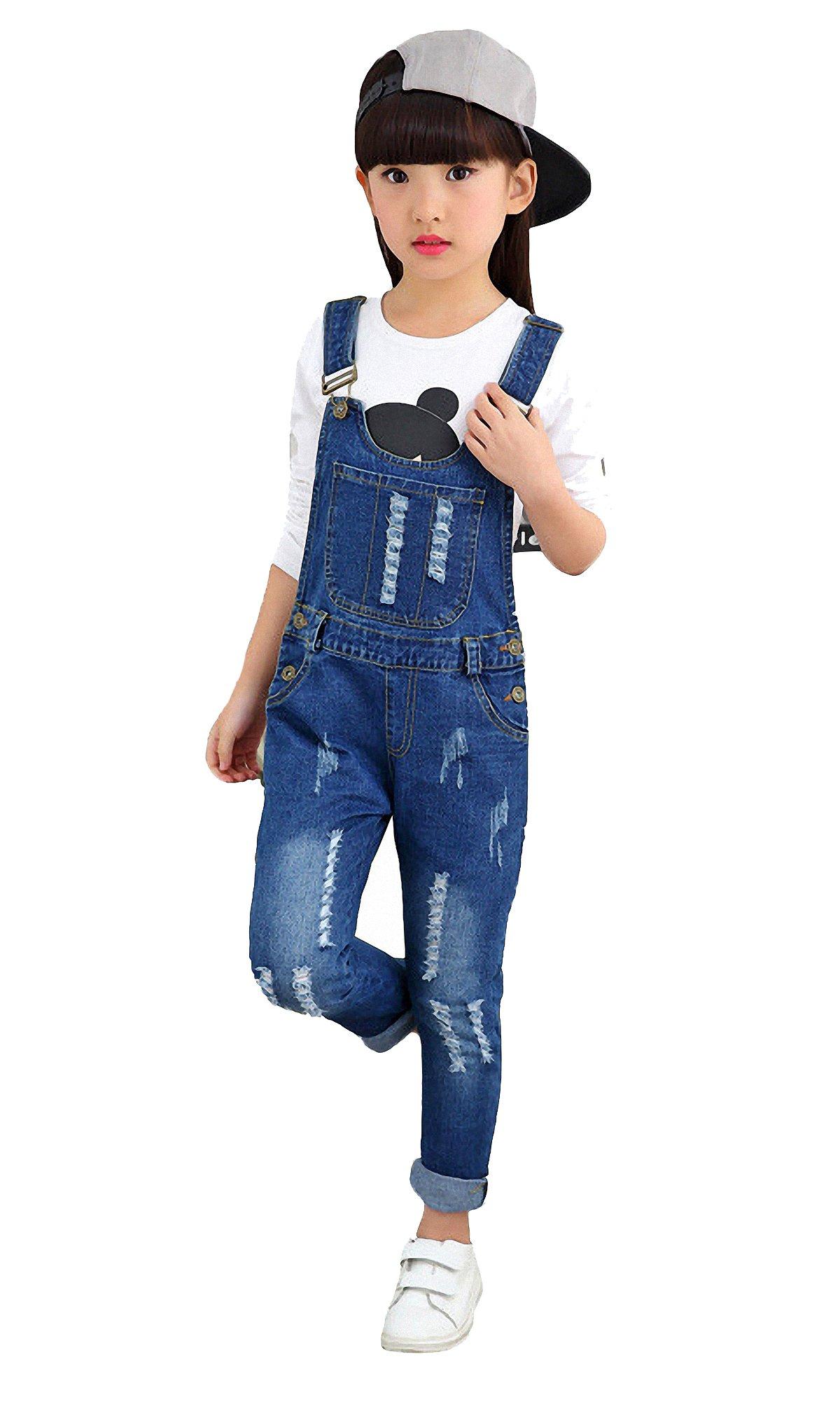 Kidscool Girls Classic Big Bib Ripped Holes Jeans Overalls Pants,Blue,10-11 Years