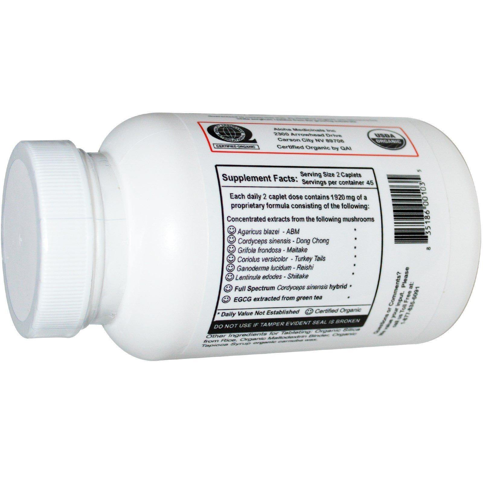 Aloha Medicinals – Immune Assist 24/7 - Organic Mushroom Supplement – Cordyceps, Agaricus blazei. Ganoderma lucidum , Grifola frondosa, Lentinula edodes, Coriolus versicolor