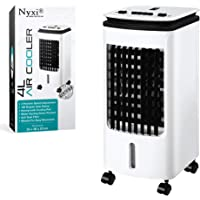 Nyxi Air Cooler Fan Portable, 4L Water Tank with Ice Boxes, High Cooling Efficiency, Anti Dust Filter, 3 Speed Setting with 180° Oscillation, Cooler Purifier on Wheels, White