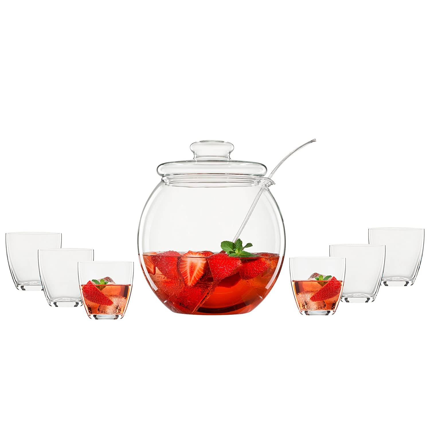 Bohemia Cristal 093006146Set of 9bowls, 1punch bowl approx. 4.5litre capacity with the lid made from heat-resistant borosilicate glass + 6 cups approx. 300 ml of crystal glass Crystalex 093 006 146