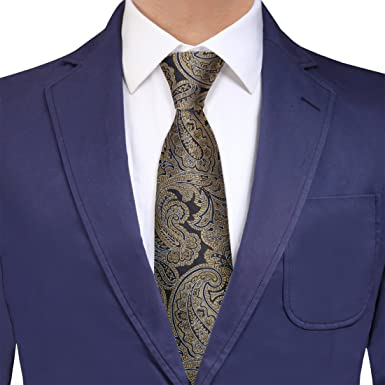 YAQB0010 oro azul Paisley Accesorios jacquard de seda de la ...