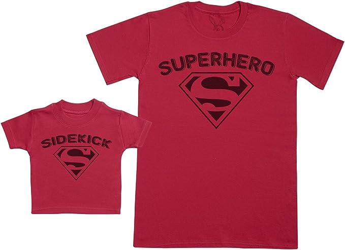 Zarlivia Clothing Superhero Sidekick Composto da Un T-Shirt Bimbo Cotone e Una T-Shirt Uomo Cotone. Completo pap/à /& Bimbo Abbinato