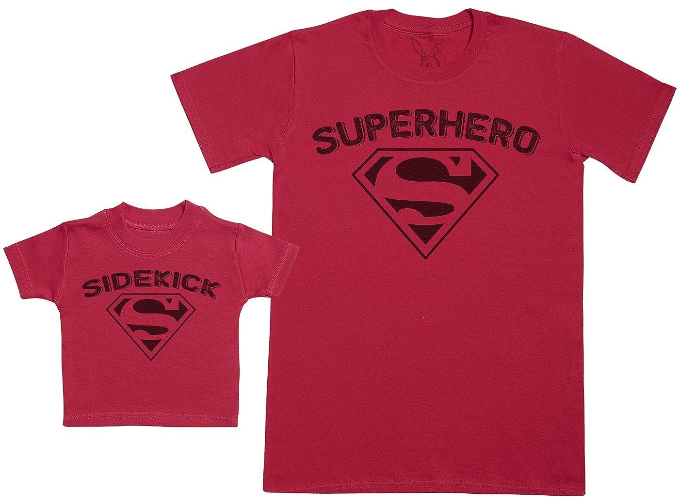 Baby Gift Set with Baby T-Shirt /& Fathers T-Shirt Sidekick /& Superhero