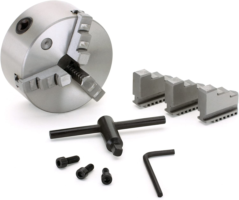 "Precision 3-Jaw x 5/"" Self-Centering Metal Lathe Chuck Plain Back M1058 New"