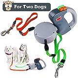 SHENGMI Hundeleine Versenkbar, Erweiterbar Doppelte Hundeleine Keine Verwicklung Automatische Doppelleine Hundeleine Leine 10 Fuß Jogging bis zu 50 Lbs pro Hund