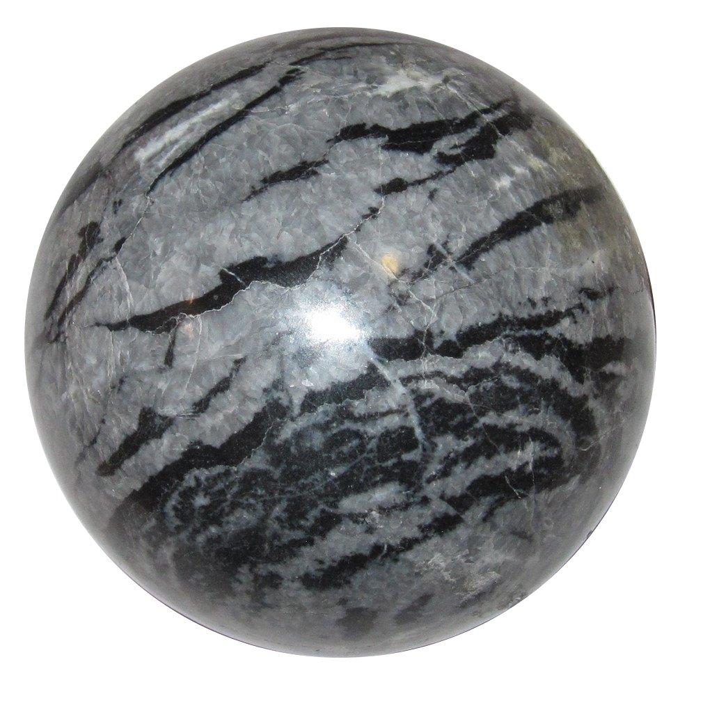 Limestone Ball 50 Gray Zebra Stripe Crystal Animal Earth Energy Elemental Crystal Stone Sphere 2.6''