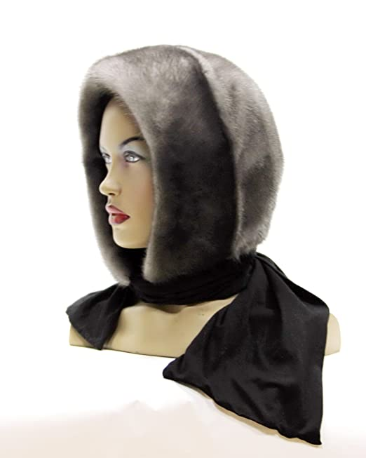 Mink fur head scarves (One-piece shawl made of fur) Blue