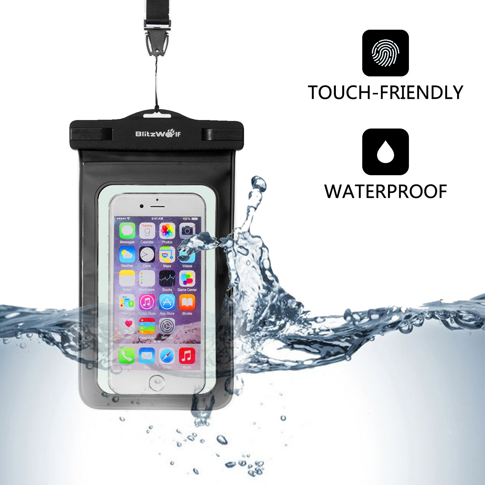 Waterproof Phone Case, BlitzWolf IPX8 Underwater Dry Bag, Universal Durable Touch Screen Watertight Sealed Bag with Portable Lanyard for iPhone SE/7/7 Plus/6S Plus/6S/6/5S/5C/5, Samsung, LG,Sony and Up to 6 inch Smartphones(1 Pack-Black)
