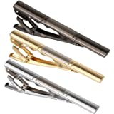 "3PCS Men。ッs 2.3"" Tie Bar Clip Set Gold Plated Gun Black Plated Stainless Exquisite Necktie Clip for Men"
