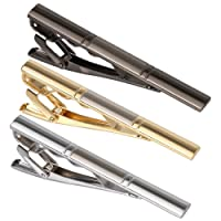 "Digabi 3PCS Men's 2.3"" Tie Bar Clip Set Gold Plated Gun Black Plated Stainless Exquisite Necktie Clip for Men"