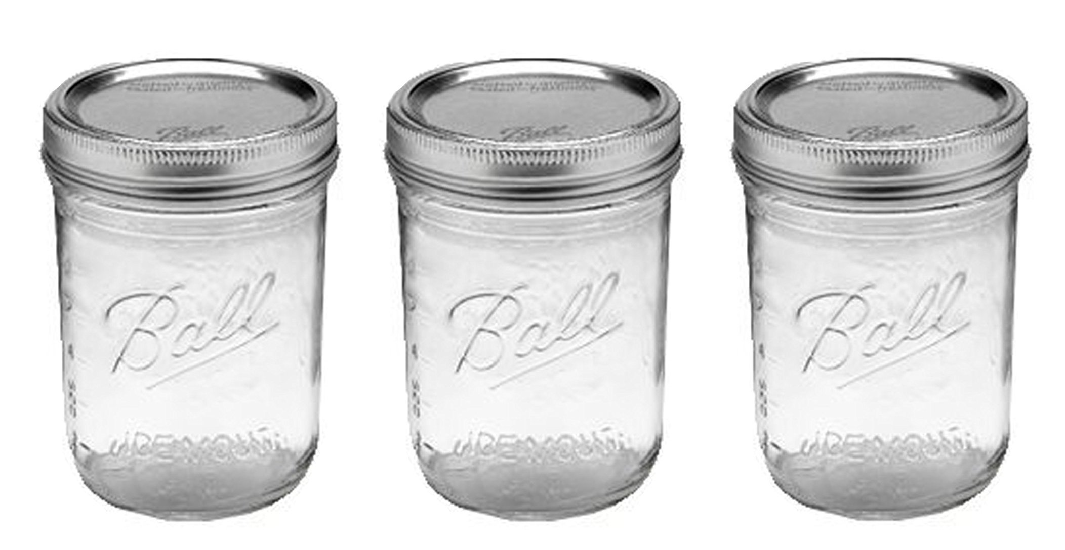 Ball Jar with Lid and Band - (Clear, Wide Mouth Pint - 16 oz.) Pack Of 3