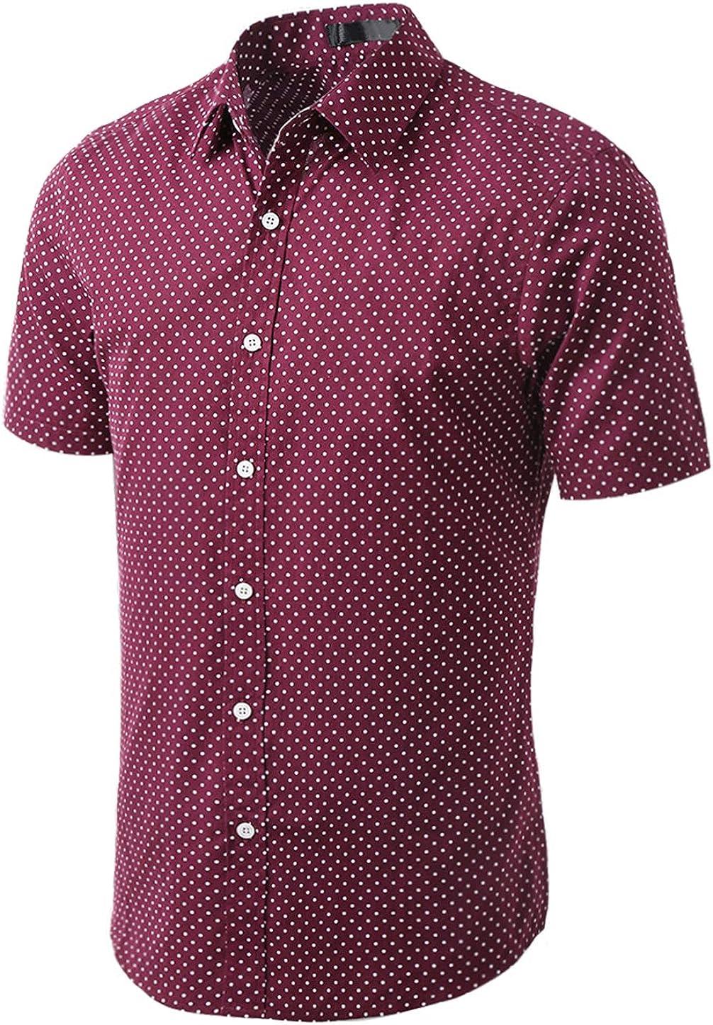 uxcell Men's Printed Cotton Dress Short Sleeves Polka Dots Button Down Shirt