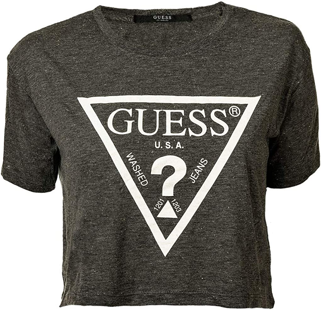 Guess Camiseta para Mujer, sin Barriguita - Crop-Top, Logotipo Impreso, Cuello Redondo, Manga Corta: Amazon.es: Ropa y accesorios