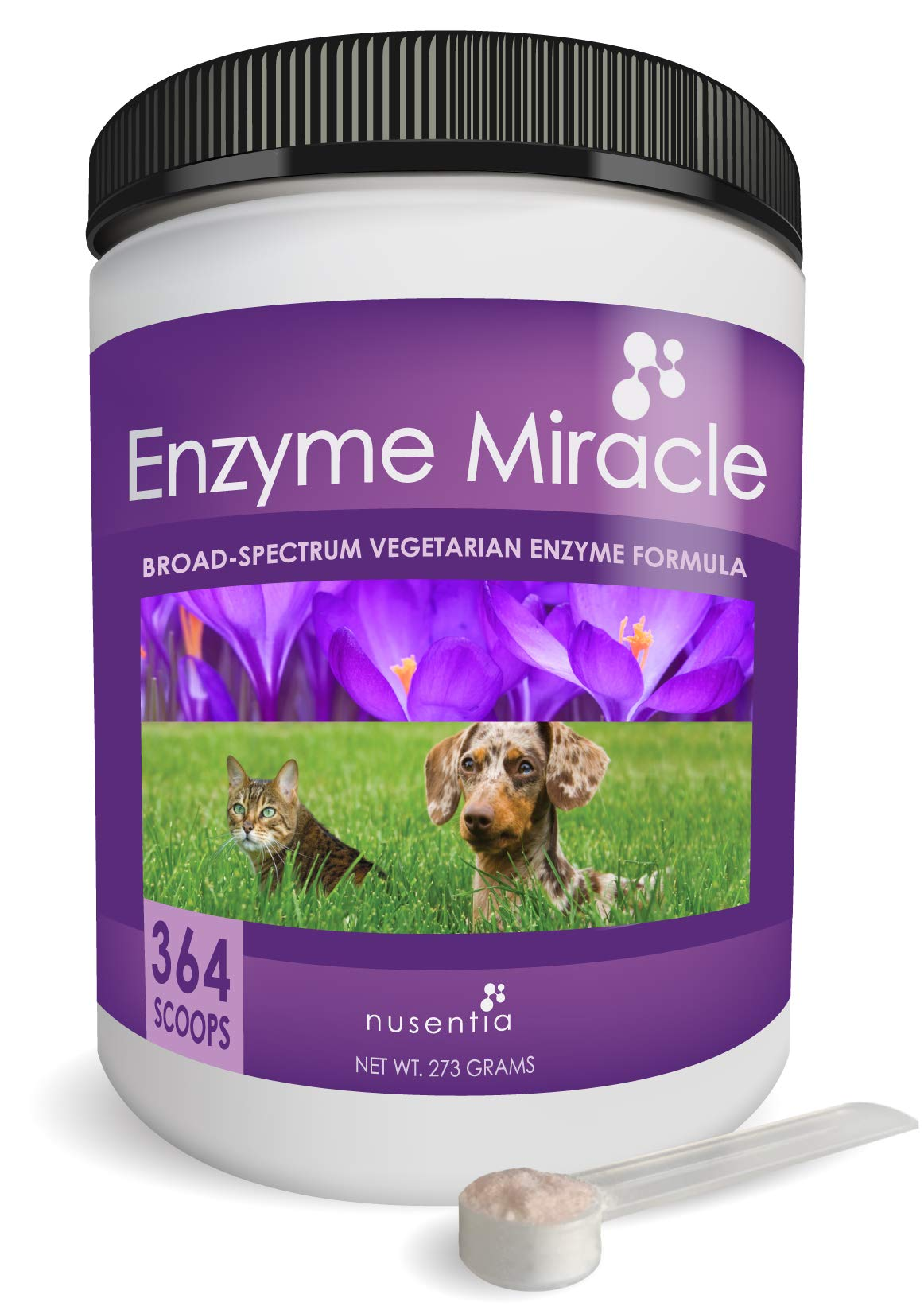 NUSENTIA Enzymes for Dogs & Cats - Enzyme Miracle - Systemic & Digestive Enzyme Formula - Powder - 364 Servings - Vegetarian by NUSENTIA