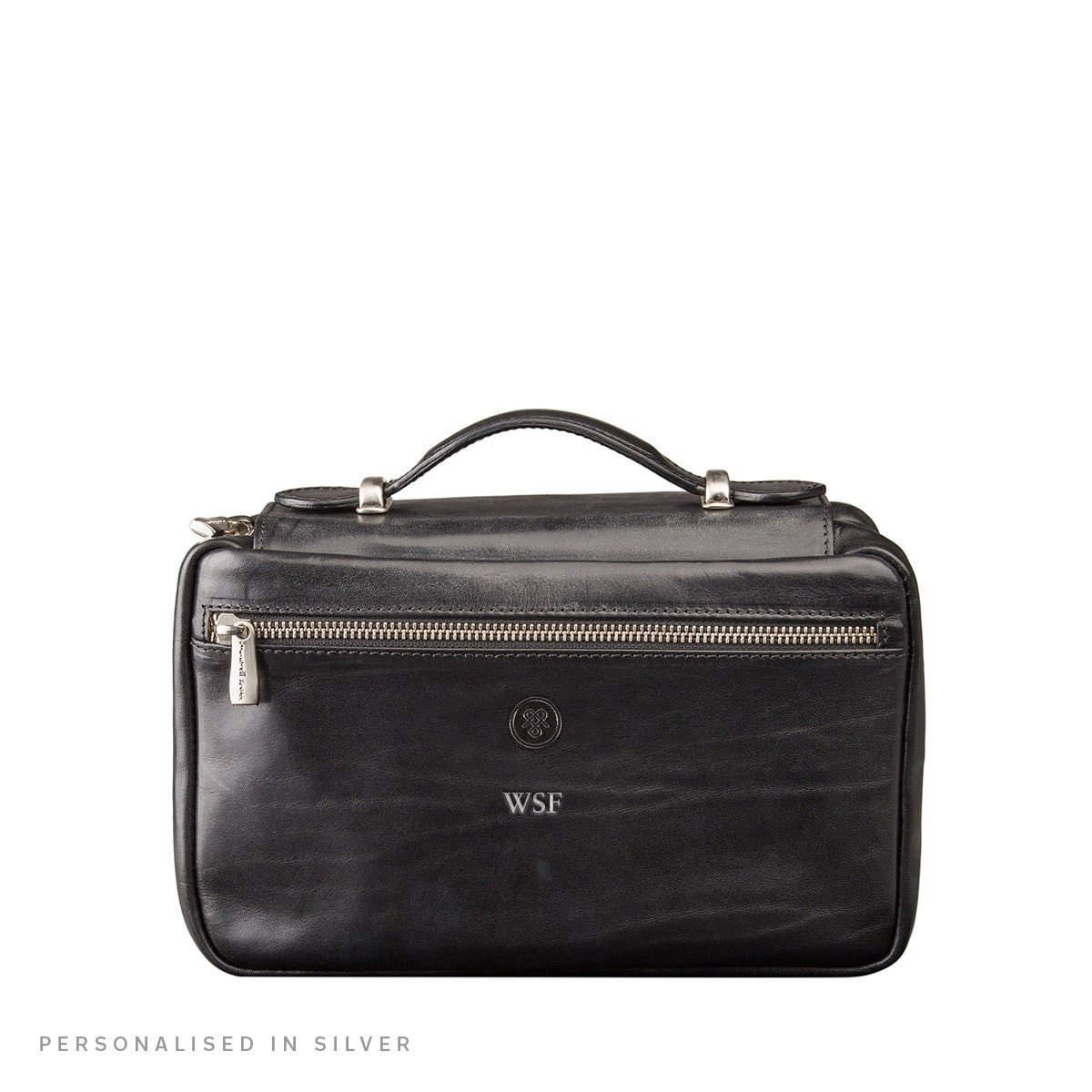 Maxwell Scott Personalized Luxury Black Leather Cosmetics Case (The Cascina) - One Size by Maxwell Scott Bags