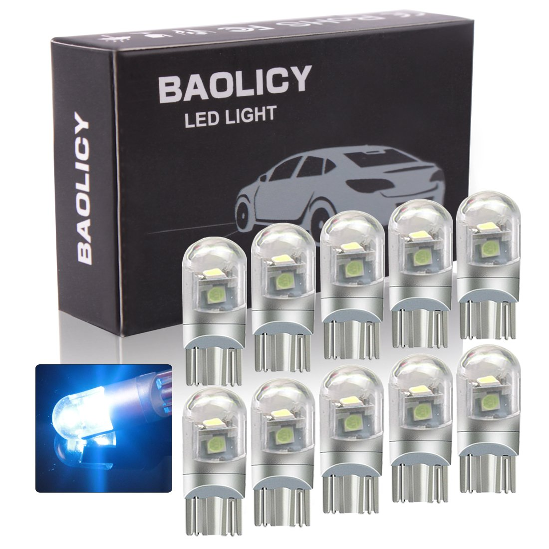 T10 LED Light Bulb, W5W Bulb, 194 LED Bulb, 3030 Chip 3-SMD Replacement for Car Interior Dome Map Reading Door License Plate Turn Signal Trunk Clearance Compact Wedge Parking Side Dashboard Light(10PCS 3White) BAOLICY