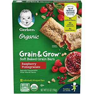 Gerber Up Age Organic Grain & Grow Soft Baked Grain Bars, Raspberry Pomegranate, 5.5 Ounce, 8 Count (Pack of 8)
