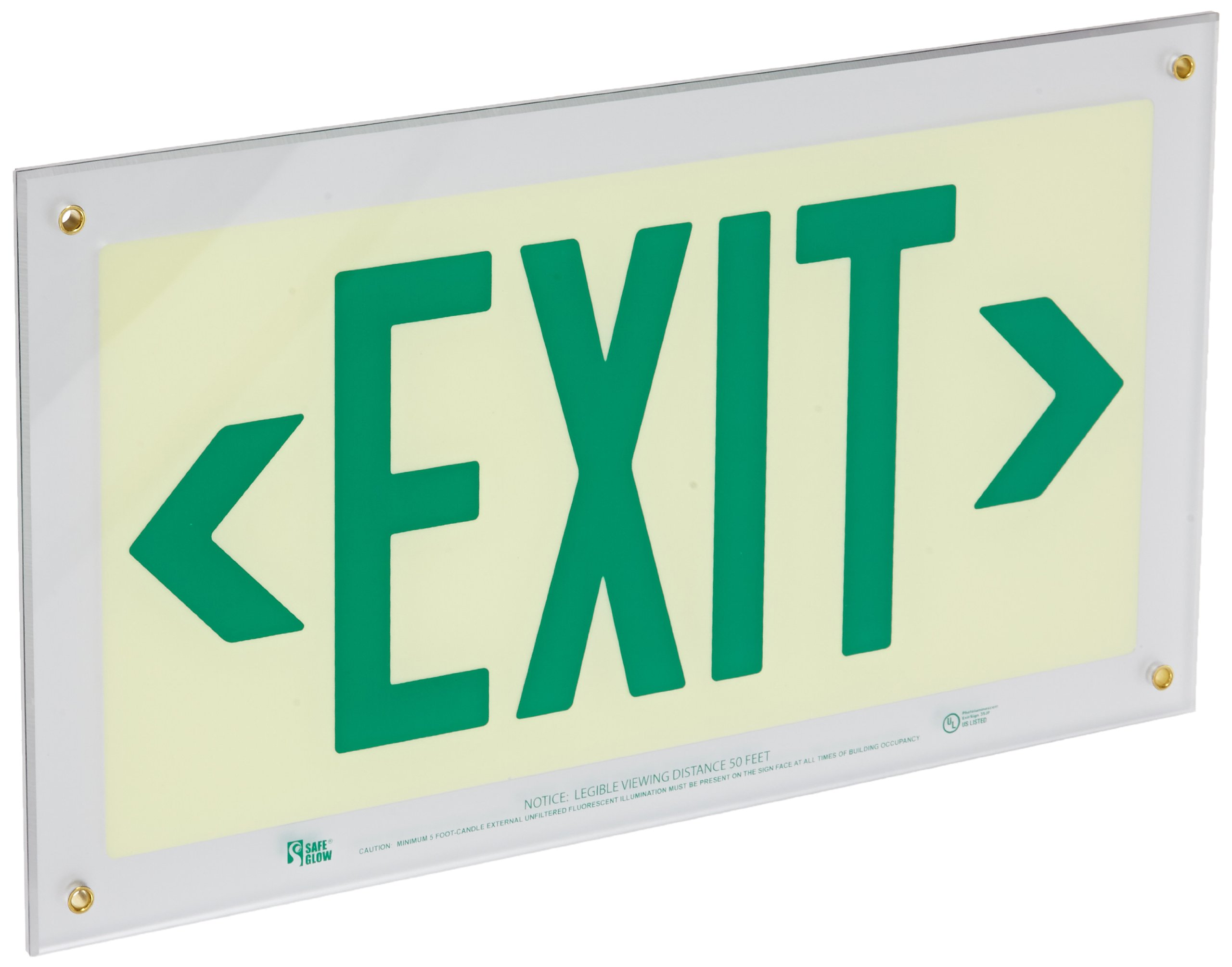 Safe Glow Photoluminescent Exit Sign, ''EXIT'' with Left and Right Arrows Symbol, 16-29/32'' Length x 9-1/2'' Width x 1/4 '' Height, Wall Mount (Pack of 1)