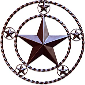 EcoRise Metal Wall Star Home Décor - Iron Metal Stars for Outdoor, Large Texas Rustic Vintage Stars, Farmhouse Barn Themed Western Country Art for Kitchen, Bathroom or Outside of House (Brown)